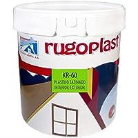 Pintura plástica blanca satinada interior/exterior ideal para decorar tu casa con un poco de brillo (salon, baño, dormitorios, cocina.) KR-60 Blanco (15 L) Envío GRATIS 24 h.