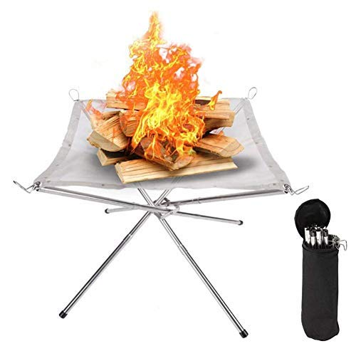 Wood.L Portable Fire Pit, Collapsing Stainless Steel Mesh Fireplace Patio Outdoor Heater Firepit With Carrying Bag For Camping Backyard Garden