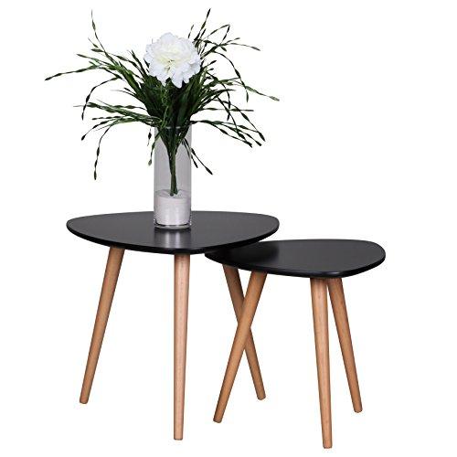 Wohnling bijzettafel Scanio vorm driehoek Scandinavisch, mat gelakte woonkamertafel met houten frame, woonkamermeubelen tafel, driepoot salontafel 2-delig, set van 2, zwart