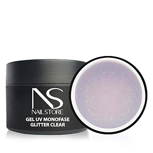 Gel UV Led Costruttore Monofasico Glitter Clear Trasparente - media densità - autolivellante (30g)