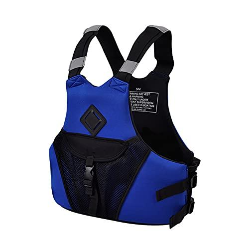 AEKE Chaqueta de Vida Adulta Chaleco de flotabilidad General de los Hombres Natación Chaleco de baño sin Mangas con Bolsa de Almacenamiento para Pesca Surf de Deportes AC Blue-M
