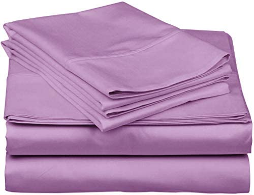 """True Luxury 1000-Thread-Count 100% Egyptian Cotton Bed Sheets, 4-Pc King Lilac Sheet Set, Single Ply Long-Staple Yarns, Sateen Weave, Fits Mattress Upto 18"""" Deep Pocket"""