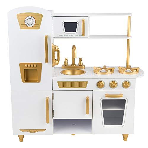 Kids House Cocina de Madera Elite White, Cocinita de Juguete para Niña Color Blanco con Dorado