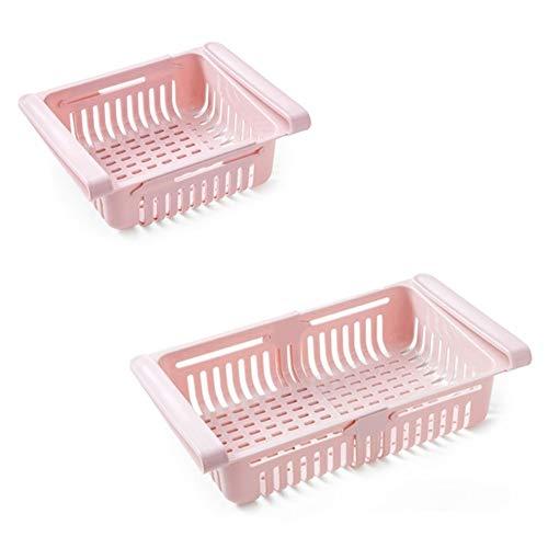 Contenedores de almacenamiento para nevera, organizador ajustable y elástico para el refrigerador, cajones para refrigerador, capa espaciadora fresca para almacenamiento de alimentos (rosa claro)