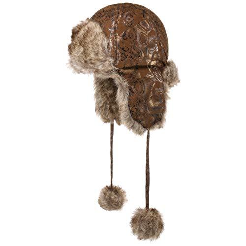 McBurn Kaziranga Bommel Fliegermütze für Damen Damenlapeer Wintermütze mit Futter Winter (One Size - braun)