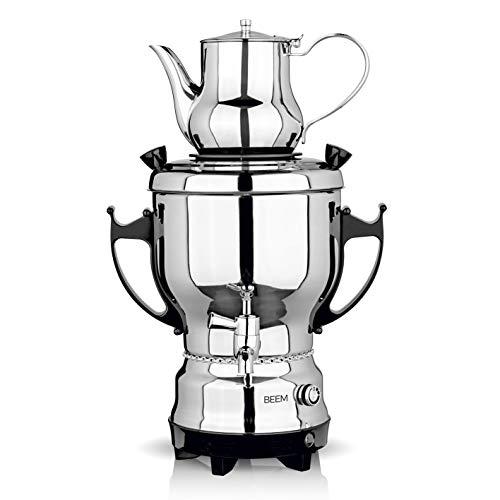 BEEM SAMOWAR 2030-3 l | Teekocher elektrisch | 2.200 W | Edelstahl | 3 l Wasserbehälter | 1 l Teekanne | Privat, Hotel & Gastro geeignet