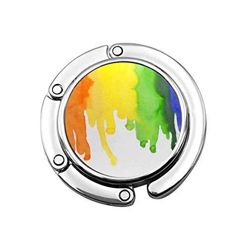 Folding Purse Handbag Hanger,Purse Hook for Car Table,Foldable Handbag Storage Colorful Love Watercolor Rainbow Colors Gay Lesbian LGBT Yellow Pride Bisexual
