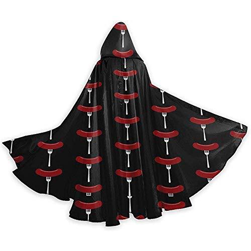 Zome Lag Adult Hooded Cloak,Party Cape,Unisex Halloween Mantel,Halloween Kerst Cosplay Kostuums,Worst Hotdog Vork Mantel Van Warlock,Devil Heks Wizard Cape