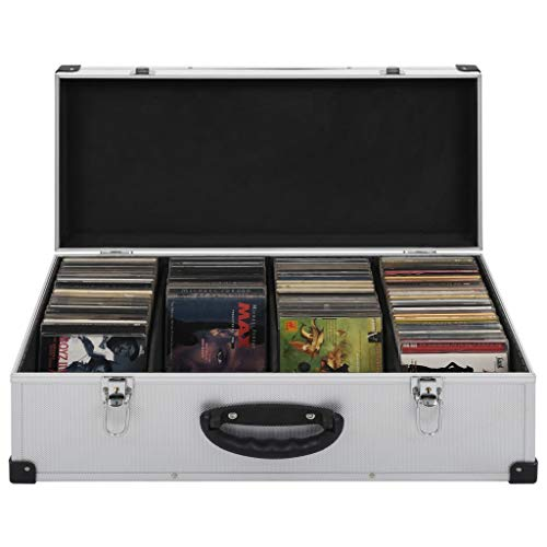 Festnight- CD-Koffer für 80/60 / 40 CDs | CD-Aufbewahrungsbox | CD Box | Silbern ABS mit Aluminiumverkleidung