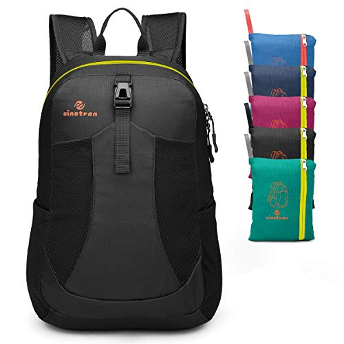 Sinotron Lightweight Packable Backpack,Small Foldable Hiking Backpack Day Pack for Travel Camping Outdoor Vacation (Black)