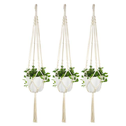 Abcidubxc – Percha para plantas, maceta tejida, maceta colgante, cesta colgante, estilo moderno, 100 cm, 3 unidades