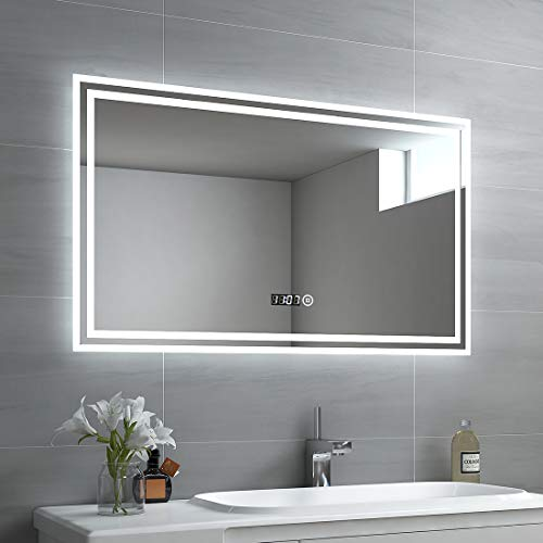 EMKE LED Badspiegel 100x60cm Beleuchtung Badezimmerspiegel Wandspiegel mit Touch-Schalter, Uhr
