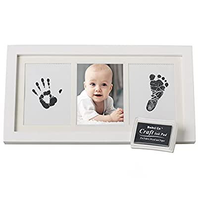 Bubzi Co Set de Marco de Fotos y Huellas de Bebé en Tinta – Recuerdo memorable – No tóxico – Ideal regalos para bebes - Marco de madera y cristal acrílico – Ideal decoración o regalo de baby shower