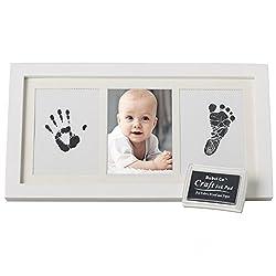Bubzi Co Wertvolles Baby Handabdruck Fußabdruck Set - Baby Foto Andenken in Weiß mit ungiftigen Stempelkissen-Qualität Holzrahmen mit sicherem Acrylglas-tolles Babygeschenk für Babyparty