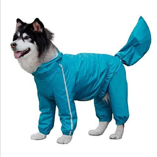 VIVIANE Mit Kapuze Hunderegenmantel, Wasserdicht, Ultraleicht, Atmungsaktiv, Hund Poncho Jacke Mit Sicherheit Reflektierende Streifen, Geeignet for Mittlere Und Große Hunde Haustier, Gelb, Blau