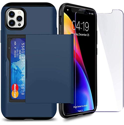SUPBEC Compatible for iPhone 12 Pro Max Case with Card Holder and[ Screen Protector Tempered Glass x2Pcs][ Protective Series] Shockproof Silicone for iPhone 12 ProMax Wallet Case Cover-Navy Blue-6.7""