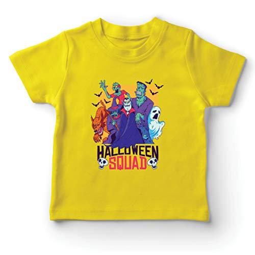 lepni.me Camiseta para Niño/Niña Escuadrón de Halloween - Vampiro, Fantasma, Hombre Lobo, Bruja, Zombie (7-8 Years Amarillo Multicolor)