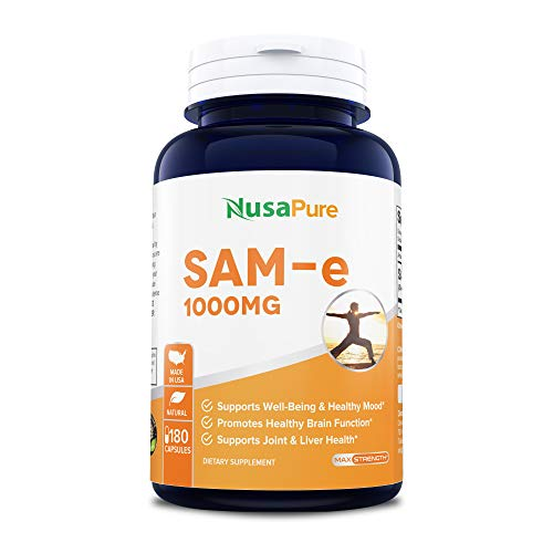 SAM-e 1000mg 180 Capsules (Non-GMO) - Same (S-Adenosyl Methionine) to Support Mood, Joint Health, and Brain Function - Extra Strength SAM e Pills - 250mg per caps