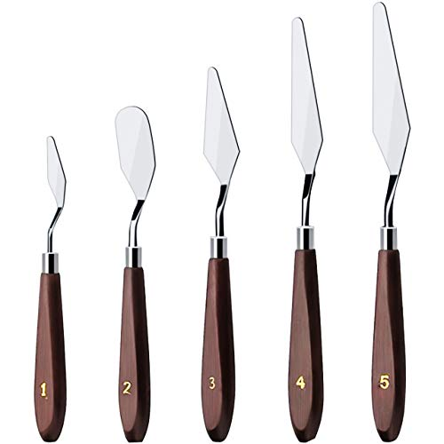 AICHEF Cake Cream Spatula 5 Pieces/Set Stainless Steel Spatula Baking Pastry Tool Mixing Scraper Set Cake Decorating Scraper Cream Toner Tool