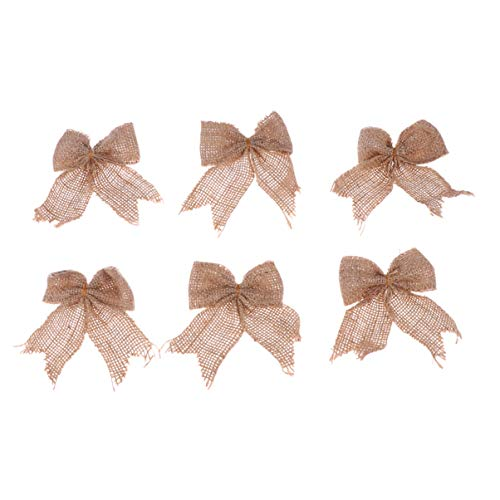 EXCEART 6PCS Natural Burlap Bow Lace Burlap Bowknot for Christmas Tree Topper Wreath DIY Craft Bouquets Home Wedding Party Decoration