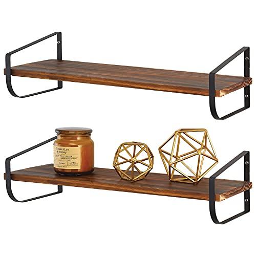 mDesign Moderna repisa de pared – Estante de madera alargado con soporte de metal resistente a la corrosión – Balda flotante para baño, cocina, despacho, dormitorio, etc. – negro y natural 🔥