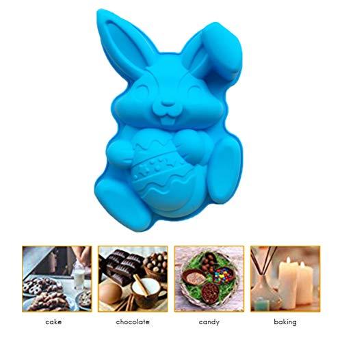 Calayu Silikonhasen-Kuchenform, Osterhase Backformen Osterei Backformen Wiederverwendbare Kuchenbackform für Schokoladeneiswürfel Cookie Cake Backwerkzeuge