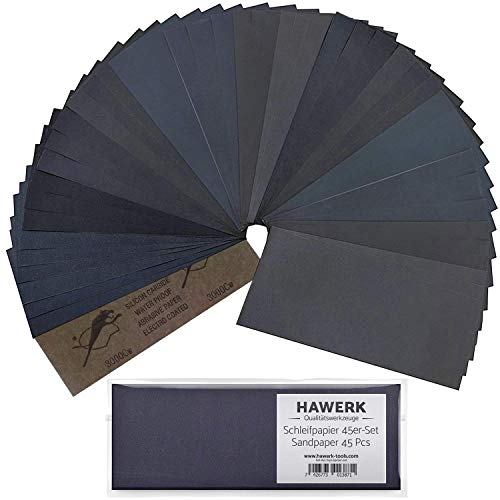 Profi Schleifpapier Set | 80 - 3000 Körnung 45 Stück | Nass und Trocken | Schleifpapier für Auto / Holzmöbel / Stein / Lack / Metall / Glas