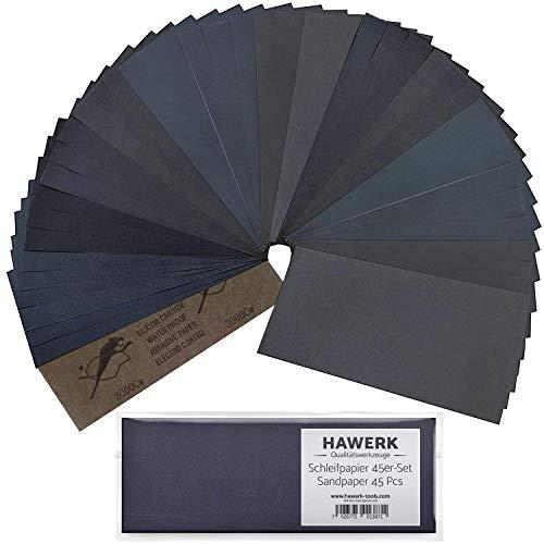 Hawerk Profi Schleifpapier Set   80 - 3000 Körnung 45 Stück   Nass und Trocken   Schleifpapier für Auto / Holz / Stein / Lack / Metall / Glas - Sandpapier / Sand Paper fein und grob