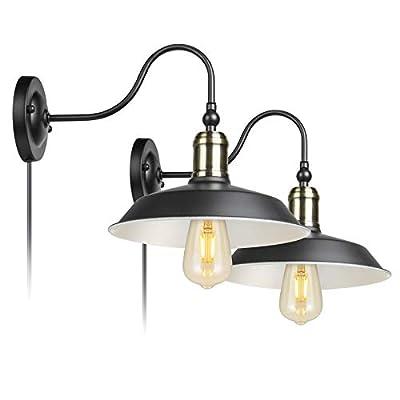 Industrial Vintage Bedroom Wall Lamps Plug in Gooseneck Barn Light Wall Sconces for Bathroom Warehouse Set of 2