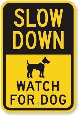 Toddrick Slow Down Watch for Dog (with Graphic) Warning Hazard Novelty Safety Caution Noitce 12 Zinn schicke Zeichen Vintage-Stil Retro Küche Bar Pub Coffee Shop Dekor 8