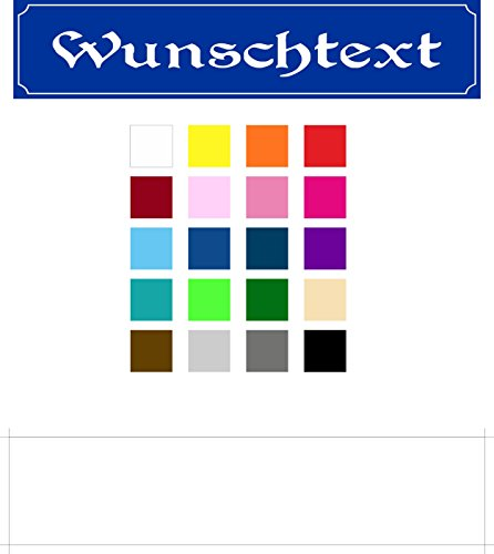 Melis Folienwerkstatt Schild Wunschtext Wunschname – 52x11cm – 10 Designs + 10 Schriften + Bohrlöcher Aufkleber Hartschaum Aluverbund -S00154C