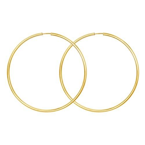 Echt Gold Damen Creolen 60 mm Ohrringe 333 Gelbgold, Damenohrringe Gold mit Stempel, Breite 2 mm, Gewicht ca. 2,1 g, Made in Germany