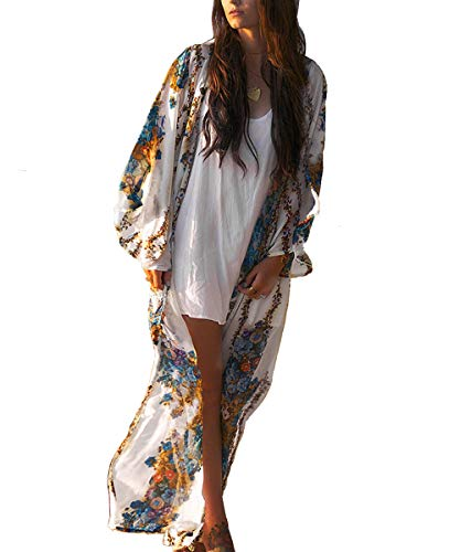 Uniquestyle Longue Gilet Kimono Femme Fleuri Pareo Plage Veste Cardigan Fluide Léger Imprimé Casual Ourlet Manche 3/4 Fleurie Bohème Poncho Ample Caftan Été en Mousseline de Soie Floral
