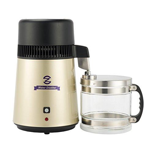 CO-Z Wasser Distiller 750W Pure Wasserdestilliergerät Edelstahl 4L Destilliergerät Wasserdestillierer mit Glas Sammelkanne (Gold)