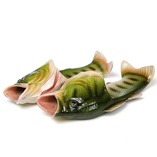 UniqStore Sandalen Tricky Fisch Hausschuhe Kreative Fisch Stil Strand Schuhe Simulation Fisch Strand Hausschuhe Herren, Grün, 44(China size)