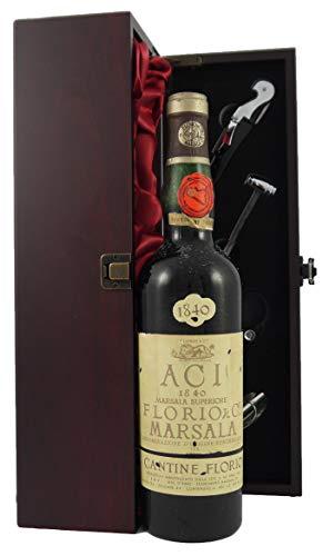 Marsala Superiore Riserva ACI 1840 Cantine Florio en una caja de regalo forrada de seda con cuatro accesorios de vino, 1 x 700ml