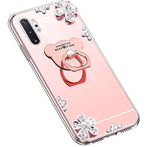 Uposao Kompatibel mit Samsung Galaxy Note 10 Plus Hülle Glitzer Diamant Glänzend Strass Spiegel Mirror Handyhülle mit Handy Ring Ständer Schutzhülle Transparent TPU Silikon Hülle Tasche,Rose Gold