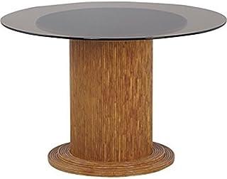 AubryGaspard Table Ronde en Verre Ø 120 cm + Pied de Table en rotin