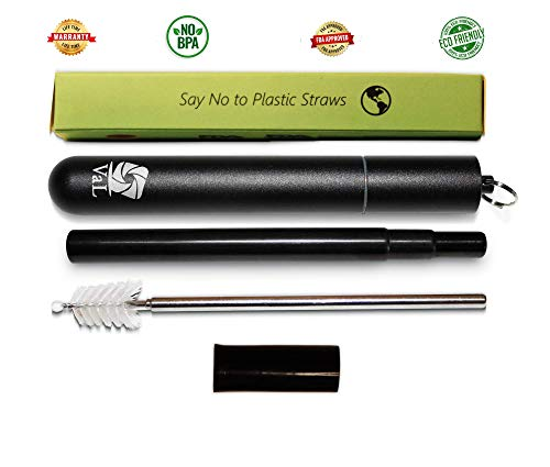 VaL-eco | Collapsible Straw, Stainless Steel Straw, Reusable Straw, Telescopic Drinking Straw with Carrying Case, Silicone Tip and Cleaning Brush, Dishwasher Safe and Compact (Black)