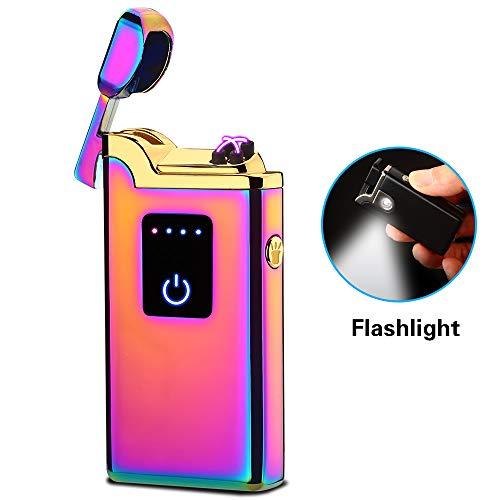 SunTime - Mechero de doble arco con linterna de doble plasma recargable por USB, sin llama, resistente al viento, mini encendedor eléctrico para cigarrillos y velas, Arcoiris (Rainbow)