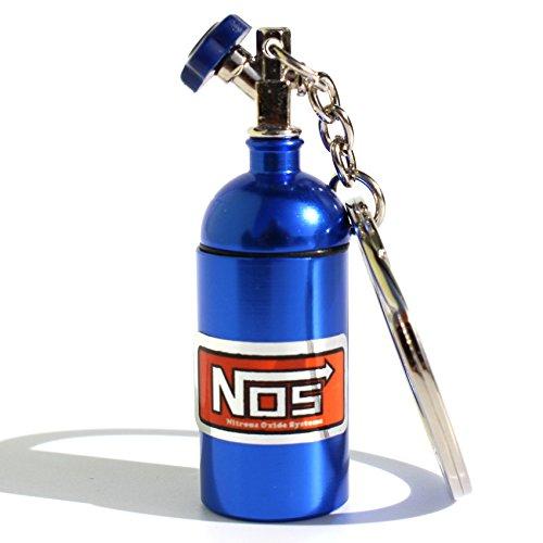 VmG-Store Mini NOS Stickstoffoxidflasche für Schlüsselanhänger Deckel abschraubbar (Blau)