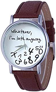 Wohome Hot Women Leather Watch Whatever I am Late Anyway Letter Watches BW