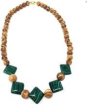 Collana con perle e applicazioni verdi in vero legno d'ulivo - fatto a mano - gioielli in legno - gioielli in legno d'ulivo