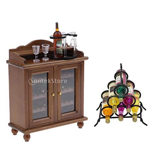 Harilla Retro 1/12 Gabinete de Vino de Madera en Miniatura Y Copas Y Estante de Vino Modelo de Casa de Muñecas