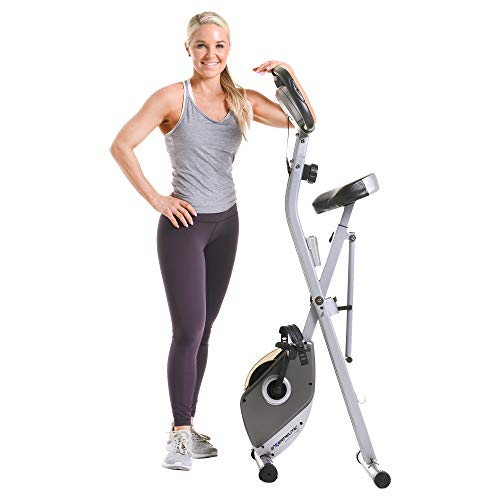 Exerpeutic Folding Magnetic Upright Exercise Bike with Pulse, 31.0′ L x 19.0′ W x 46.0′ H (1200)