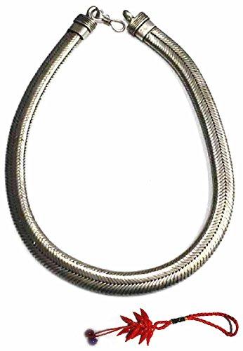 Collana Piatta 48 50 cm Spessore 13 mm 200gr Minimo Snake Bagno Argento Indiano Ottone Bagnato Omaggio amuleto corni