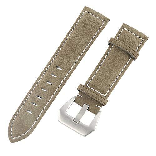 Correa de reloj de pulsera clásica de 22 mm con hebilla grande y duradera de piel verde militar, correa de reloj de liberación rápida de moda de cuero genuino de repuesto