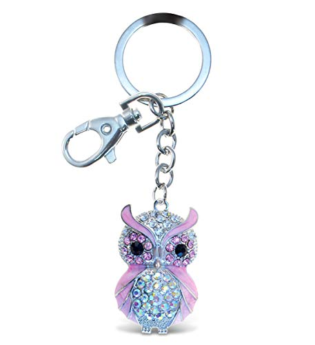 Aqua79 Pink Owl Keychain - Silver 3D Sparkling Charm Rhinestones Fashionable Stylish Metal Alloy Durable Key Ring Bling Crystal Jewelry Accessory with Clasp for Keychain Bag, Purse, Backpack, Handbag