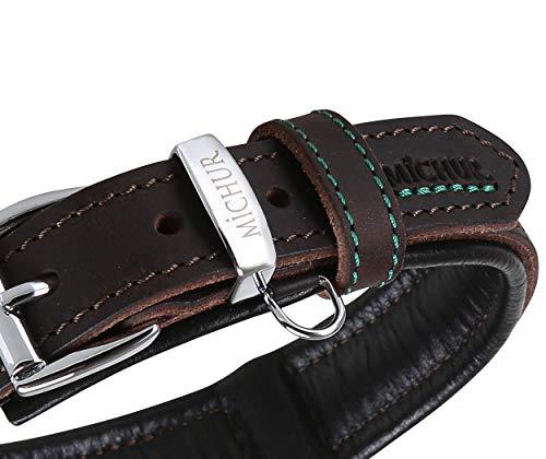 MICHUR Oleo Hundehalsband Leder, Lederhalsband Hund, Halsband, Braun, Leder, in verschiedenen Größen erhältlich