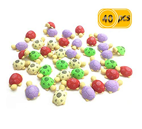 IFfree 40pcs Stationery Gift Turtle Erasers For Your Kids Students Stationery Prizes.Colors Random erasers,erasers bulk,erasers for kids,cap erasers,green eraser,fun erasers,turtle erasers,eraser gift